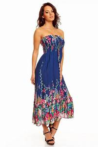 Ladies Floral Rose Print Bandeau Summer Beach Holiday Midi Day Dress UK 8 - 22   eBay