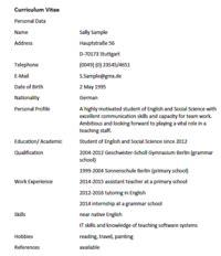 Cv Englisch Muster by Lebenslauf Auf Englisch Curriculum Vitae With Exle