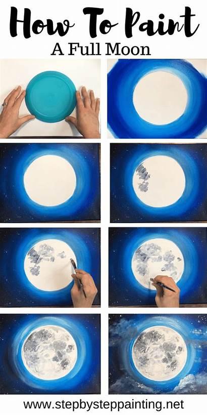 Moon Painting Acrylic Step Tutorials Paint Paintings