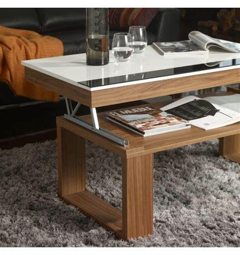 table basse relevable bois table basse relevable plateau blanc et pied bois d 233 co et saveurs