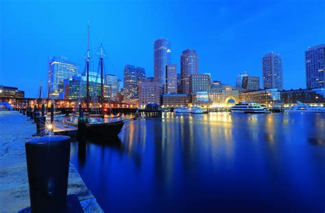 Yacht Harbor Boston Ma Building Pier Night City Embankment