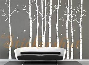 Large vinyl white birch tree decals aus50 8800 for White birch tree wall decal decorations