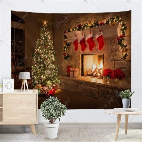 Jar sconces handmade wall art hanging design with remote control led fairy lights and white peony,farmhouse kitchen decorations wall home decor living room lights set of two. Wall Decor Christmas Fireplace Tree Pattern Tapestry ...