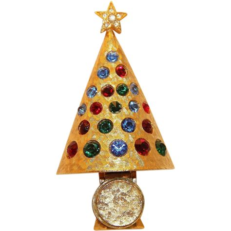 hattie carniegie christmas light up tree pin brooch