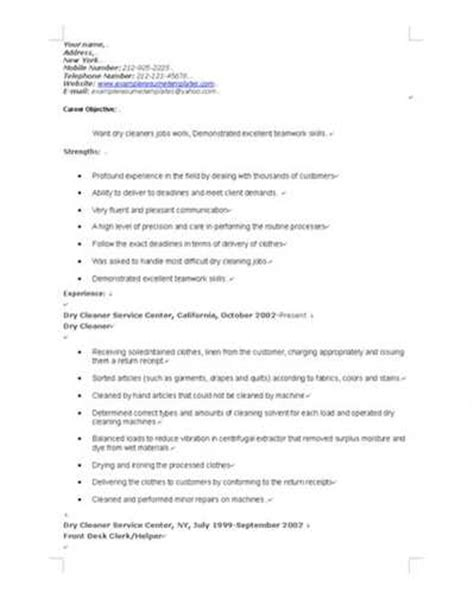 house cleaning resume sles