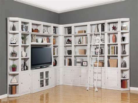 Corner White Wall Unit Shelves