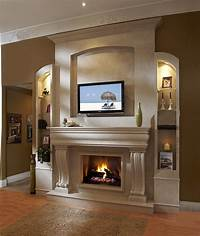 excellent modern fireplace mantel Fireplace: Contemporary Living Space Furniture Fireplace Mantel Kits With LCD TV, Artistic Wall ...