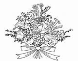 Coloring Flowers Bouquet Flower Drawing Bunch Bouquets Printable Popular Someone sketch template