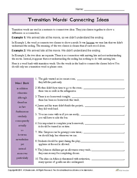 transition words worksheet connecting ideas transition