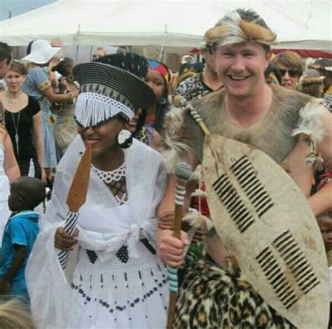 interracial couple  zulu traditional wedding attire