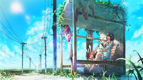 anime girl waiting  bus wallpapers  backgrounds wallpapers  backgrounds
