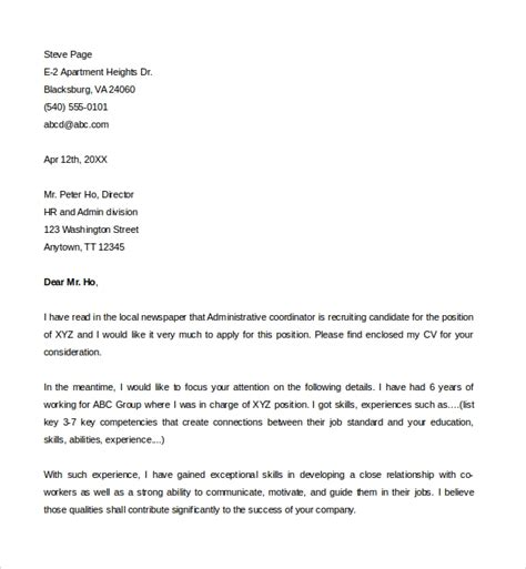 Cover Letter For Office Staff by Sle Administrative Coordinator Cover Letter 8 Free