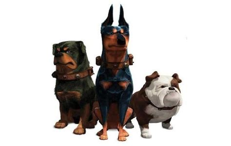 Beta (Rottweiler). Alpha (Doberman Pinsher). Gamma (Bulldog). Up film villians.   Cartoon Dogs