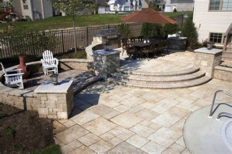 unilock pillars paver patio and grill island with unilock yorkstone photos