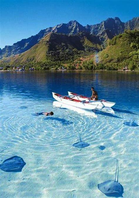 Bora Bora French Polynesia In An Outrigger Canoebliss