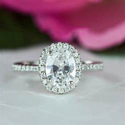 halo ring with wedding band 1 5 ctw classic oval halo engagement ring halo wedding ring