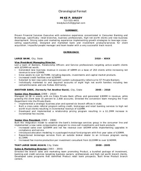 Chronological Resume Format Pdf by Resume Format Exle 8 Sles In Word Pdf