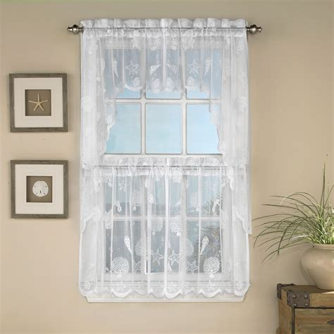 reef marine white knit lace kitchen curtains choice