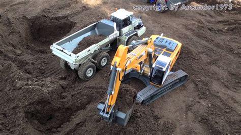 rc excavator liebherr  action big rc fun youtube