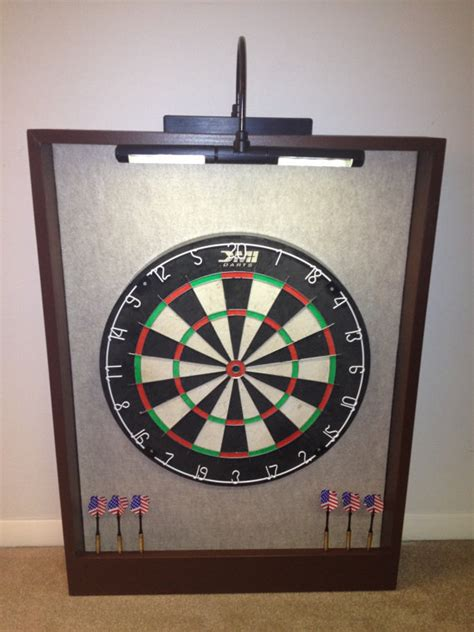 led lighted sandstone felt brown trim dart board backboard