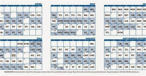 Printable Schedule Large Chicago Cubs
