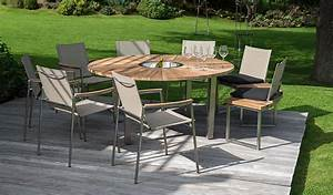 Table Teck Jardin : salon de jardin avec table ronde jardin exterieur maisonjoffrois ~ Teatrodelosmanantiales.com Idées de Décoration