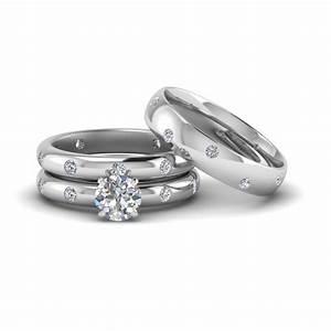 Round cut flush set trio matching diamond wedding rings for Matching white gold wedding rings