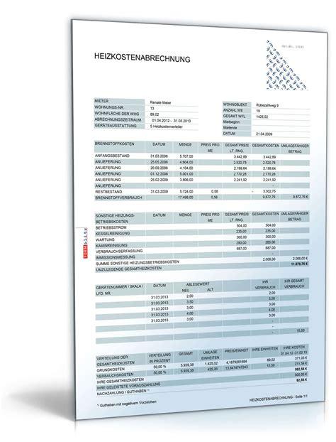 vorlagen paket betriebskostenabrechnung muster zum