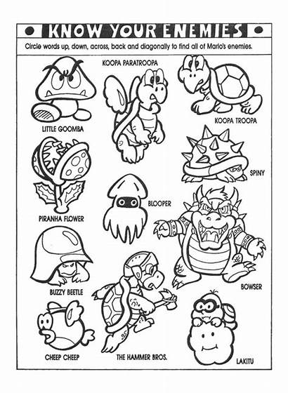 Mario Coloring Pages Super Nintendo Characters Bros