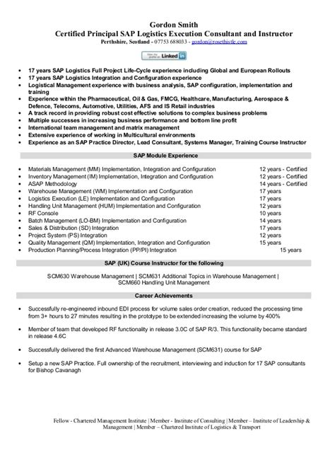 Sap Sd End User Experience Resume by Sap Logistics Execution Consultant Cv