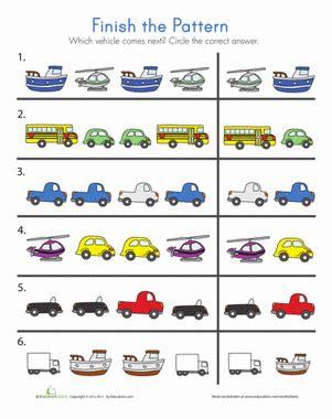 Transportation Patterns  Worksheet Educationcom