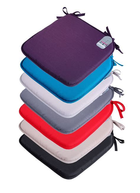 4 x Plain Seat Pad Tie On Chair Foam Cushion For Office