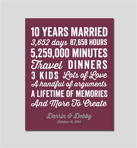 10 year wedding anniversary gift items similar to 10 year anniversary gift 10 year wedding anniversary you choose colors
