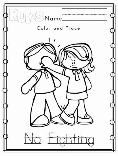 Rules Classroom Coloring Preschool Pages Printable Clipart