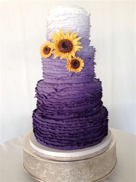 purple ombre  sunflowers purple wedding cakes