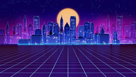 80s Neon City Wallpaper by 80s Neon Background Footage Page 4 Stock Mind