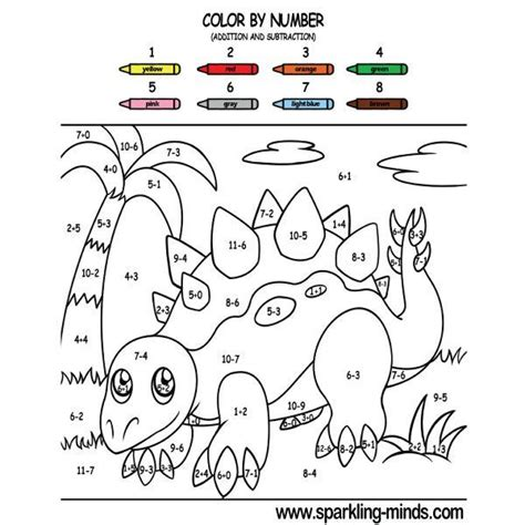 dinosaur color  number addition  subtraction