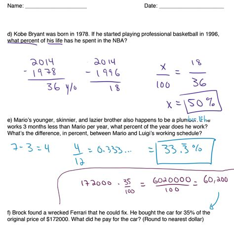Percentage Word Problems For Year 7  Class Activities Word Problems And Relay Games On
