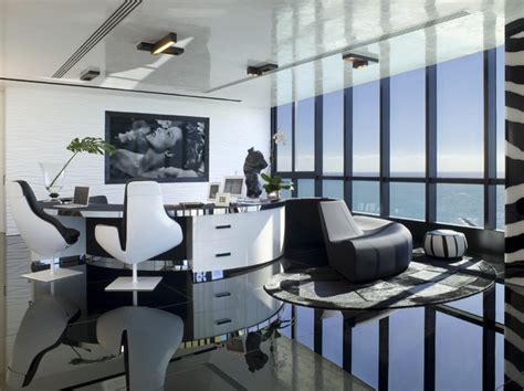 office view living room home office modern living room miami Luxury