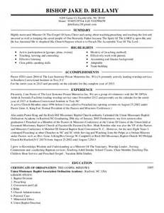 resume templates for pastors pastors resume pdf