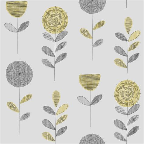 B And Q Bedroom Wallpaper by Fresco Paste The Paper Flower Sketch Grey Yellow