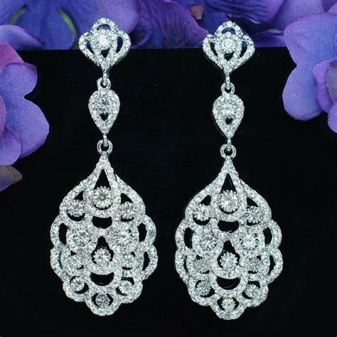 Chandelier Earrings Wedding by Rhodium Plated Clear Rhinestone Bridal Chandelier