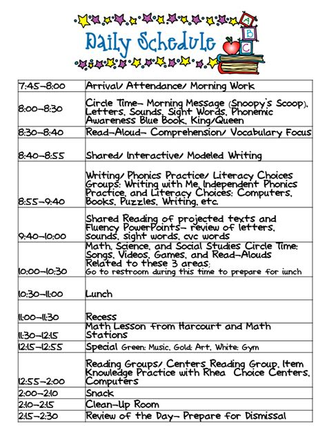 kindergarten celebration daily schedule 607 | b9b1605f58409e21a2de21e5288d5897
