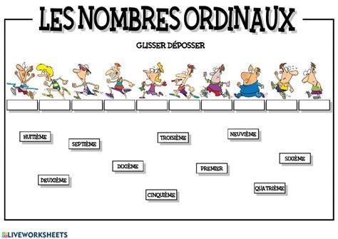 les nombres ordinaux interactive worksheet ordinal