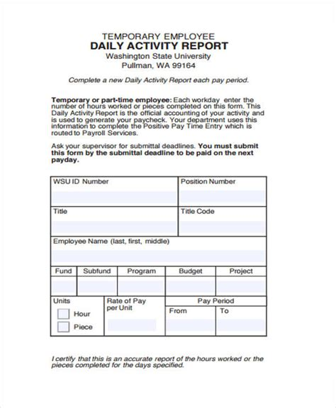 sample activity reports   word pages