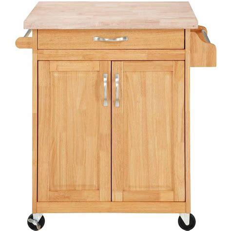 Kitchen Island Cart Butcher Block Rolling Cupboard Cabinet