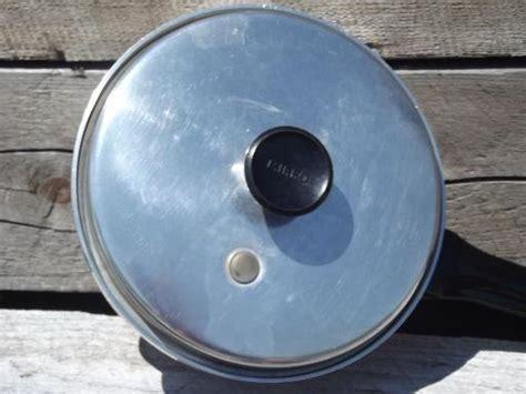 vintage mirro aluminum pan  steam vent lid  vegetables  saucepan