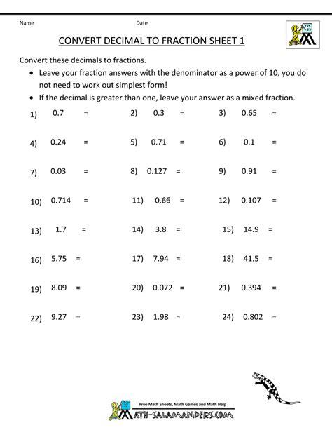 Printable Math Worksheets Decimal To Fraction Printable Best Free Printable Worksheets