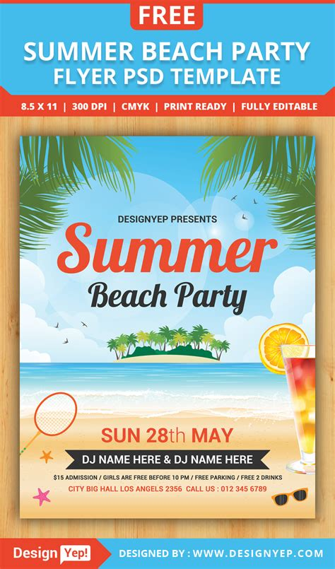 summer flyer templates free free summer beach party flyer psd template designyep