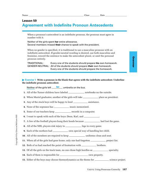 pronoun antecedent examples  examples